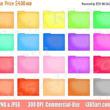 50% OFF SALE File Folder Clipart, Folder Clip art, Document Folders, School Office Supplies, Office Icon, Labels, Folders, PNG, Commercial