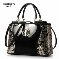 2016 Shoulder Bags Crossbody Brand New Fashion Patent Leather Women Bag Handbag Messager Luxury Ladies Black Tote Famous Fashion