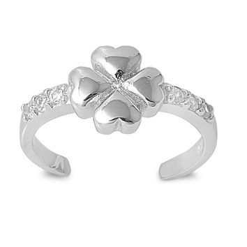 Sterling Silver Goodluck Four-Leaf Clover 7MM  Toe Ring/ Knuckle/ Mid-Finger