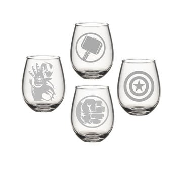 Marvel Super Hero Wine Glass Set, Avengers Wine Glass Set, Hulk Iron Man Thor Captain America Wine Glass, Etched Wine Glass - Super Hero