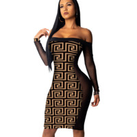 Autumn New Fashion More Letter Print Strapless Sexy Long Sleeve Dress Coffee