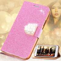 Fashion Women Girl Bling Diamond Cover Glitter PU Leather Flip Phone Case For Samsung Galaxy S5 S6 Edge Plus S7 Edge Note 4 5