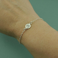 Tiny Om Bracelet - sterling silver yoga bracelet - yoga om jewelry - om pendant charm - ohm - zen gift for friend