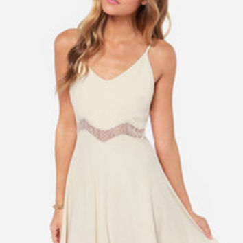 Midriff Management Lace Cream Dress