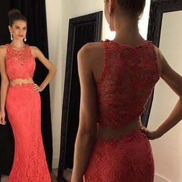 Two Piece Sheath Prom Dress,Prom Dresses,Long Evening Dresses