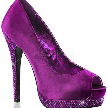 Fabulicious Bella Peep Toe Purple Pumps
