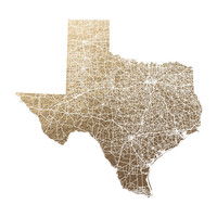 Texas Map Filled by GeekInk Design | Minted
