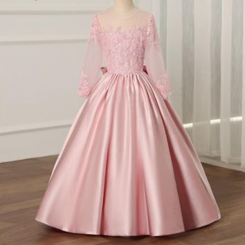 Flower Girl Dress with Long Sleeves A-line Kids Pageant Party Wedding Prom Princess Formal Occasion Girls Dress