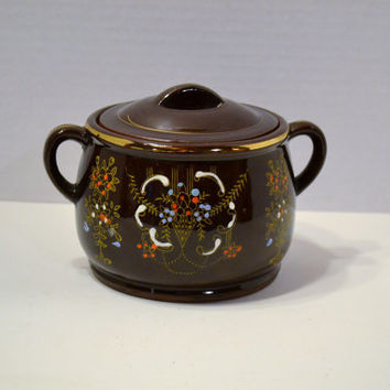 Vintage Redware Bean Pot Chocolate Brown Hand Painted Details Made in Japan PanchosPorch