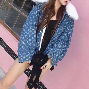 """Louis Vutitton LV×Supreme"" Women Fashion Logo Letter Fur Collar Long Sleeve Cardigan Denim Cotton Clothes Coat"