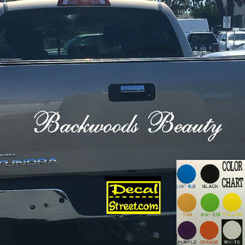 Backwoods Beauty Tailgate Decal Sticker 4x4 Diesel Truck SUV