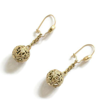 Filigree Ball Dangle Drop Earrings, In Gold Tone, Assemblage Jewelry