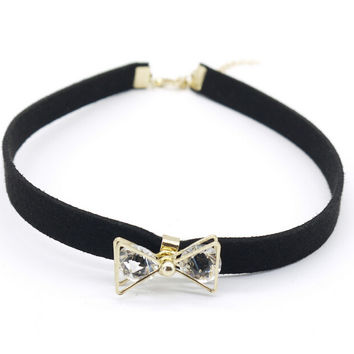 Womens Retro Blace Leather Bow Crystal Choker Adjustable Necklace + Gift Box