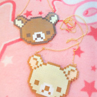 Rilakkuma and Korilakkuma Inspired Pixel Necklace