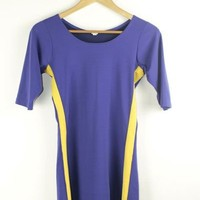 Puple and Yellow Bodycon Dress | S