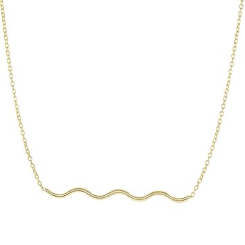 14k Yellow Gold Shiny 2.9-1.1mm Round Tube Wave Element Anchor On 1.1mm Oval Link Necklace with Spring Ring Clasp