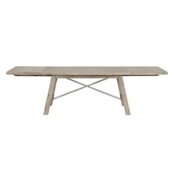Nixon Extension Dining Table Natural Gray, Brushed Stainless Steel | Acacia Veneer