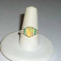 Ethiopian Opal Ring With Natural Emeralds Sterling Silver .925