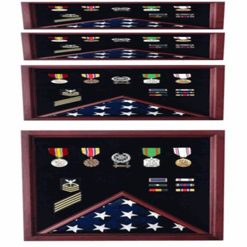 Military Flag and Medal Display Case - Shadow Box Hand Made