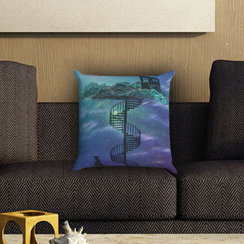 Tardis in Victorian Sky Collage Art Pillow Cover , Custom Zippered Pillow Case One Side Two SIde