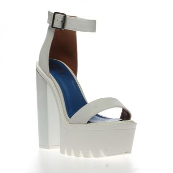 Jessi White Cleated Sole Platform Shoes