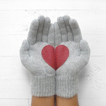Heart Gloves, Gray Gloves, Burgundy Heart, Cherry, Special Gift, Christmas Gift, Xmas Gift, Gift For Her, Unique Gift