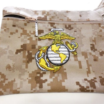 Military Marine Marpat Embroidered Wristlet Cosmetic Bag Gadget Purse