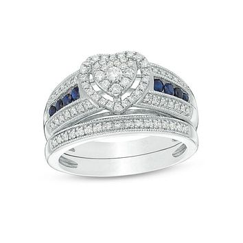 3/8 CT. T.W. Composite Diamond and Blue Sapphire Heart Frame Multi-Row Vintage-Style Bridal Engagement Ring Set in 14K White Gold