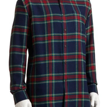 Croft & Barrow Mens Size Small Plaid Flannel Cotton Shirt Navy Blue Red Green