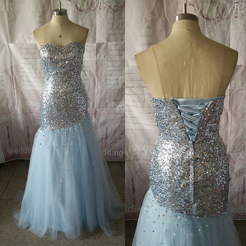 Light Sky Blue Prom Dresses Sweetheart Neckline Sheath Tulle Skirt Lace-up Corset Back Evening Dress Beaded Party Dress ET189