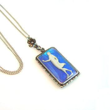 Art Deco Morpho Butterfly Wing Pendant Necklace Sulfide Classical Greek Style Lady Silhouette 1920s Vintage Jewelry