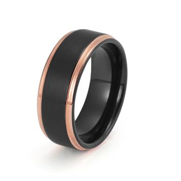 Black Tungsten Ring Rose Gold Wedding Band Ring Brushed Tungsten Carbide 8mm 18K Tungsten Ring Stepped Edges Man Wedding Band Male Promise Women Anniversary His Hers Matching