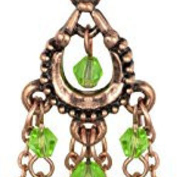 14g Surgical Steel Vintage Chandelier Dangle Belly Button Ring with Jade Colored Tear Drop Beads