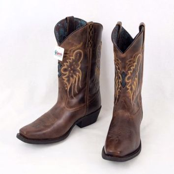 Laredo Leather Cowboy Boots sz 9.5 Brown Brandy Cora Studded Teal Underlay