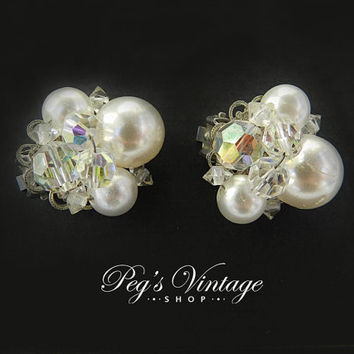 Faux Pearl Cluster/AB Clip Earrings/Silver Tone Filigree Vintage Jewelry