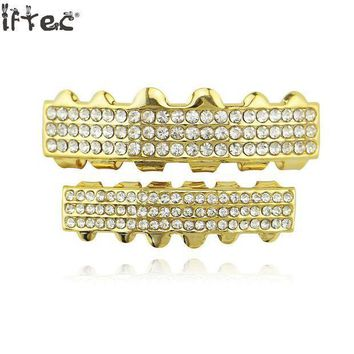 ac PEAPO2Q Iftec Teeth Grillz Hip Hop Body Jewelry Gold Tone Top Bottom Iced Out Cz Tooth Caps Grillz Dente Hiphop Bling Teeth Grillz