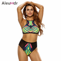 Aleumdr Bathing Suit Women High Waist Plus Size Print Black Mesh Swimsuit 2 Pieces Cutout Bikini Hollow Out Tankinis 410087