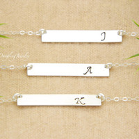 Personalized SILVER Bar Necklace, SET of THREE, Initial Monogram Necklace, Bridesmaid Gift, Bridesmaid's Jewelry, Wedding Jewelry