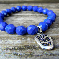 Beaded Stretch Charm Bracelet with Cobalt Blue Czech Glass Beads and Silver Skull Charm