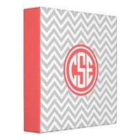 Gray and Coral Preppy Chevron Circle Monogram Binders