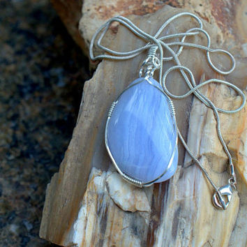 Gemstone necklace Blue Lace Agate silver wrapped pendant free form shape handmade jewelry