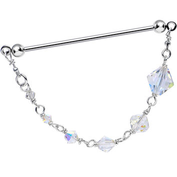 Christmas Icicle Industrial Barbell Created with Swarovski Crystals