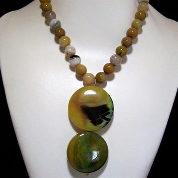 Tribal Banded Agate Bead Necklace, With Double Disk Yellow Green Pendant, Summer Fun Jewelry, Artisan Created, Costume Jewellery 517