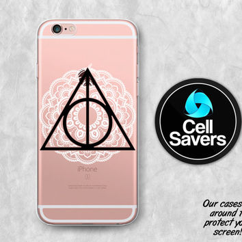 Deathly Hallows Clear iPhone 6s Case iPhone 6 iPhone 6 Plus iPhone 6s Plus iPhone 5c iPhone 5 Clear Case Harry Potter Symbol Henna Mandala