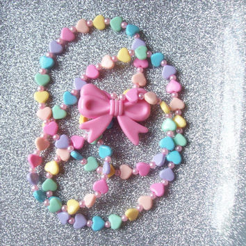 Rainbow Sugar - Pastel Hearts and Bow Charm Necklace