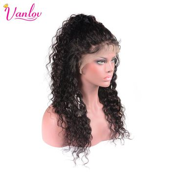 Vanlov Water Wave Lace Front Human Hair Wigs Water Wave Brazilian Non Remy Hair Wig With Baby Hair 130% Swiss Lace Natural Color