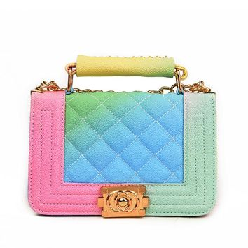 Gradient Rainbow Color Bag Caviar PU Leather Chic Women Handbages Lady Quilted Shoulder Bags Sac A Main Handtassen Dames Tassen
