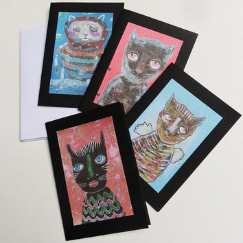 Cat Cards - Greetings Cards - Set Of Cards - Cat Card Set - Cat Greetings Cards - Cat Art Cards -  Cute Kitties - Cat Illustrations