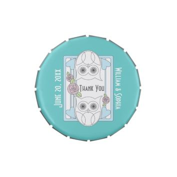 Retro Cute Owls & Roses Love Personalized Candy / After Dinner Mint Tins for Wedding, Birthday, Baby Shower, or Any Anniversary Party Favors
