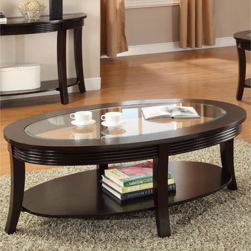 Beauty MEF, Birch Veneer & Sundray Solid Wood Coffee Table, Espresso